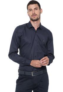 Camisa Aramis Slim Estampada Azul-Marinho