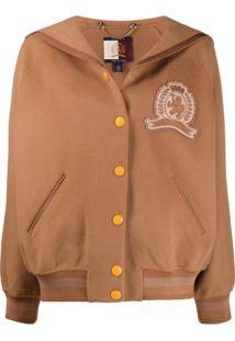 Hilfiger Collection Sailor-Collar Felt Bomber Jacket - Marrom