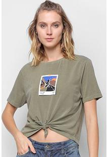Camiseta Cantão Babylook Recorte Manga Curta Feminina - Feminino-Verde Escuro