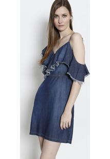 5507dc343 ... Vestido Jeans Com Babados- Azul Escuro- Forumforum