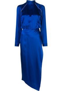 Michelle Mason Vestido Gola Alta Com Aplicação - Azul