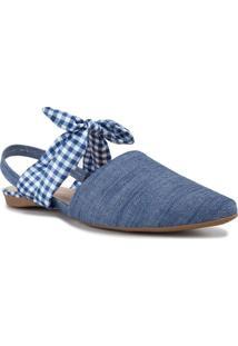 Sapatilha Aberta Com Laço Vichy Jeans Azul