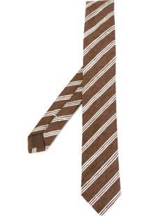 Eleventy Gravata De Seda Listrada - Brown
