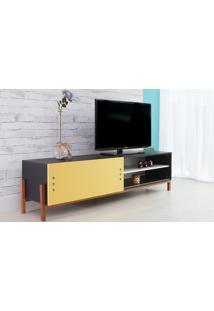 Rack De Tv Preto Moderno Vintage Retrô Com Porta De Correr Amarela Eric - 186X43,6X48,5 Cm