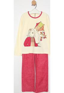 Pijama Manga Longa & Calã§A- Creme & Pinksonhart