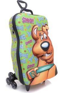 Mochila Escolar 3D Com Rodinhas Maxtoy Scooby Doo - Unissex-Verde