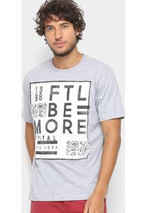 Camiseta Fatal Estampa Escrita Masculina - Masculino-Mescla