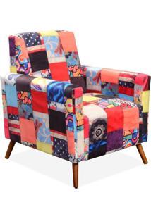 Poltrona Decorativa Para Sala De Estar Pés Palito Liz Patchwork - Lyam Decor