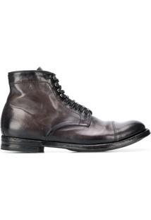 Officine Creative Ankle Boot Com Cadarço - Cinza