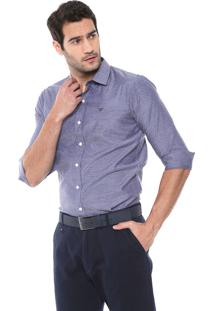 Camisa Colombo Reta Padronagem Azul