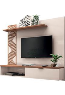Painel Bancada Suspensa Para Tv Até 50 Pol. Grid Off White/Nature Hb