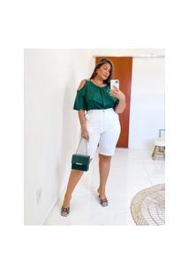 Bermuda Lisa Almaria Plus Size Miss Taylor Bolso-Faca Off-White