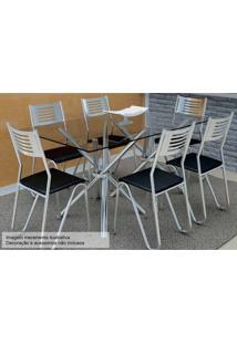 Sala De Jantar Kappesberg Volga 140+6 Cadeiras Cromad/Preto