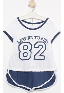 """Pijama """"Return To Bed""""- Azul Marinho & Branco- Zulaizulai"""