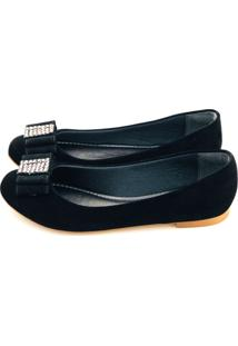Sapatilha Love Shoes Redonda Laço Strass Preto