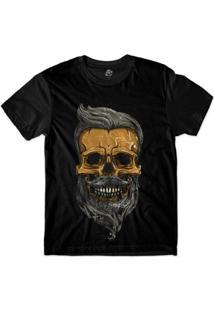 Camiseta Bsc Motoqueiros Caveira De Barba Sublimada Masculina - Masculino-Preto
