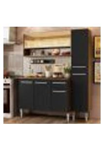 Cozinha Compacta Madesa Emilly Art Com Balcão E Armário Vidro Reflex - Rustic/Preto