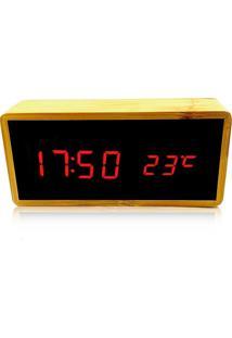 Relógio De Mesa Despertador Termômetro Madeira Led Vermelho