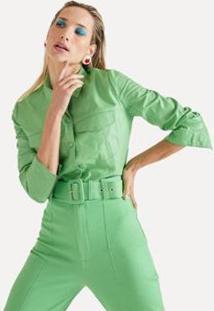 Jaqueta Couro Bolsos Eva - Feminino-Verde