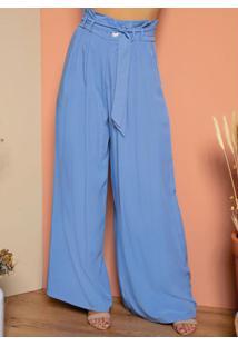 Calça Pantalona Azul Com Pregas E Bolsos