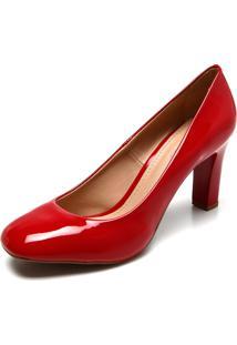 Scarpin Dafiti Shoes Bico Quadrado Vermelho