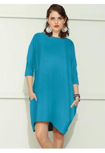Vestido De Moletom Oversized Azul