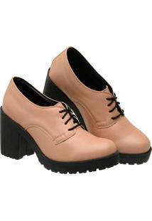 Sapato Oxford Feminino Verniz Salto Meia Pata Tratorado 33 - Kanui