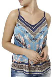 Blusa Regata Cativa Feminina - Feminino-Azul