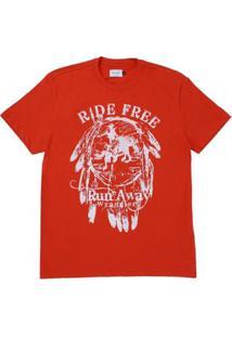 Camiseta Estampada Wrangler Masculina - Masculino-Vermelho