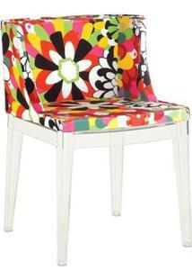 Cadeira Mademoiselle - Base Policarbonato - Assento Floral Camélia