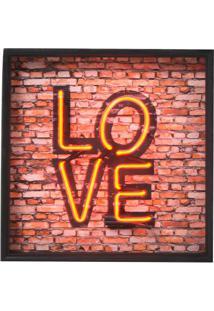 Quadro Decorativo Com Neon Love