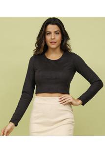 Blusa Cropped Lisa Com Tag- Preta- Livellemos Beach Wear