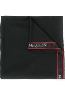 Alexander Mcqueen Cachecol Com Acabamento De Logo - Preto