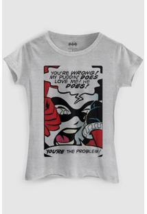 Camiseta Dc Comics Harley Quinn You´Re The Problem Bandup! - Feminino-Cinza