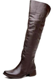 Bota Cla Cle Feminina Over The Knee Confortável Couro Marrom - Tricae