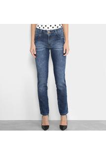 Calça Jeans Reta Biotipo Estonada Cintura Alta Feminina - Feminino-Azul