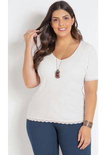 Blusa Em Renda E Ribana Branca Plus Size