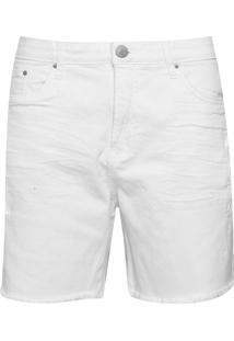 Bermuda Sarja Calvin Klein Jeans Destroyed Branco