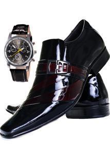 Sapato Social + Relógio Gofer 632 Vinho/Preto