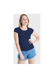 Camiseta T-Shirt Básica Plus Size Lynnce Azul Marinho