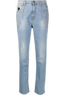 John Richmond Denim Embellished High Rise Jeans - Azul