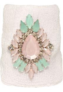 Bracelete Malha Com Cristais Verdes E Rosas Opal Banhado Em Ródio Branco By Cris Arcangeli La Madame Co