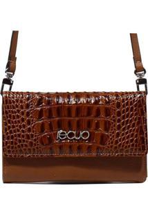 Bolsa Carteira Em Couro Recuo Fashion Bag Croco Caramelo/Ocre