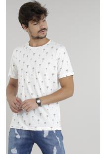 Camiseta Masculina Estampada De Coqueiros Manga Curta Gola Careca Off White