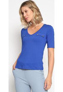 Blusa Com Botãµes - Azul Royal & Dourada - Thiptonthipton