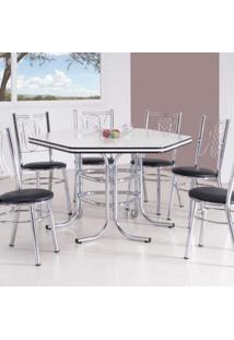 Conjunto Com Mesa Me-220 E 6 Cadeiras Ca-960 Montreal Móveis Brastubo Branco/Preto