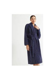 Robe Longo Manga Longa Fleece Texturizado | Lov | Azul | P