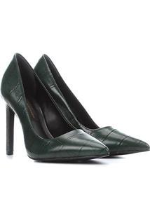 Scarpin Couro Jorge Bischoff Salto Alto Metal Textura - Feminino-Verde