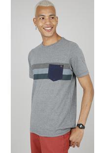 Camiseta Masculina Listrada Com Bolso Manga Curta Gola Careca Cinza Mescla Escuro