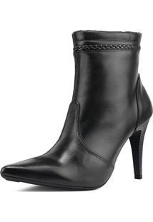 Bota Ankle Boots Miuzzi Salto Agulha Luxo Preta